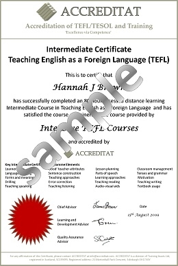 Sample certificates tefltesol students accreditat yelopaper Choice Image